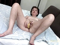 Banana fucking old lady has a hairy pussy tubes