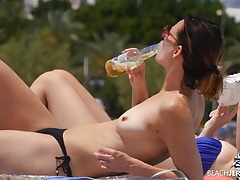 Flawless lean body on a amateur beauty at a topless beach tubes