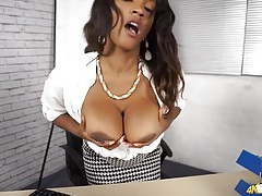 Black office hottie wants you to stare at her tits tubes