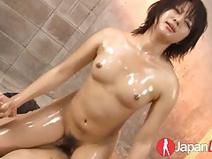 Slippery oiled threesome with an asian slut tubes
