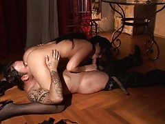 Master in leather orally worshiped by a sub tubes