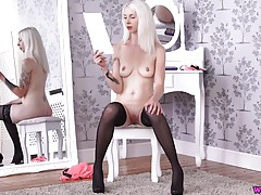 British girl in stockings reads an erotic story tubes