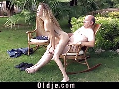 Young cunt filled with hard old dick outdoors tubes