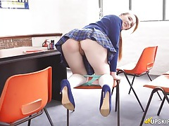 Pretty british schoolgirl flashes her hot pussy tubes