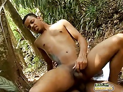 Big brazilian dick fucks him in the butt outdoors tubes
