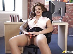 Curvy secretary happily shows her hot cunt tubes