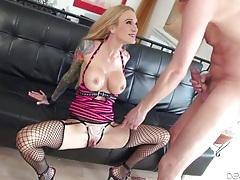 Tattooed milf temptress with fake tits fucks him tubes