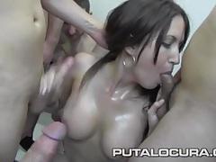 18 loads of cum dumped on a busty slut tubes