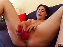 Pink dildo pumps a pretty pink pussy in close up tubes