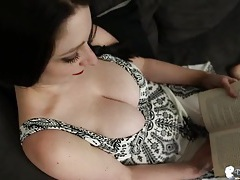 Gorgeous big natural tits spill out of her dress tubes