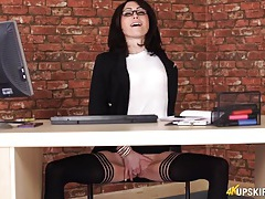 Hot secretary with a tight shaved pussy tubes
