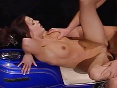 Slut smokes as a biker fucks her pussy tubes