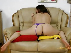 Purple lace panties on the flexible solo milf tubes